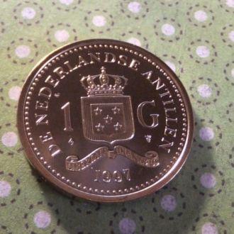 Антилы монета 1 гульден Антильские остров 1997 год !