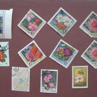 Марки СССР, Куба 1970-1980 11 шт Цветы
