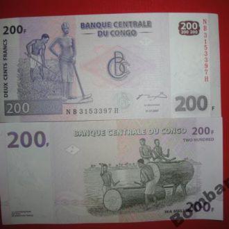 200 франков Конго 2007г   Unc