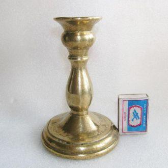 Старый подсвечник 15 см, латунь бронза, вес 0,8кг