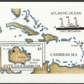 Антигуа и Барбуда 1985 транспорт парусник карта бл
