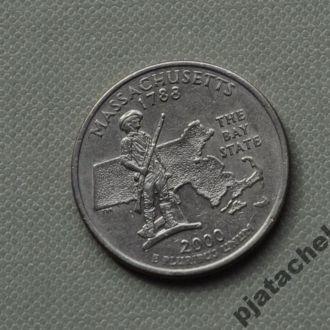 25 центов США Массачусетс 2000 г. D
