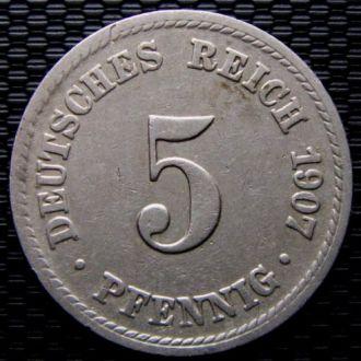 Германия 5 пфеннигов 1907 год (A)