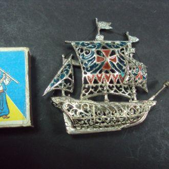 кораблик миниатюра серебро 53 г  800 проба