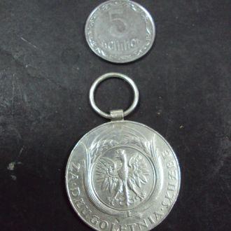 медаль за долголетнюю службу ХХ лет польша серебро №10342