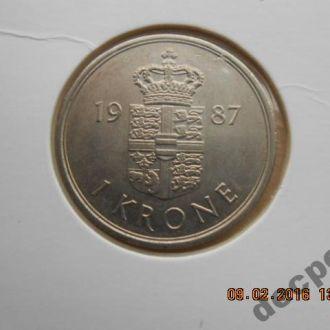 Дания,1 крона,1987 г.В холдере.