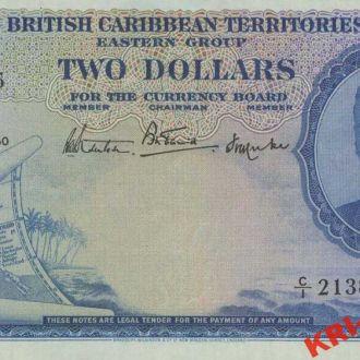 Карибские острова 2 доллара 1950 год. КОПИЯ