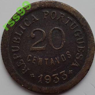Гвинея Биссау 20 центаво 1933  год. РЕДКОСТЬ