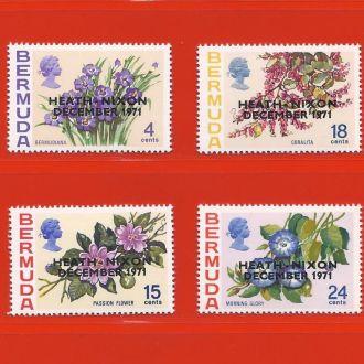 Брит. колонии BERMUDA Флора Надпечатка 1971 MNH !