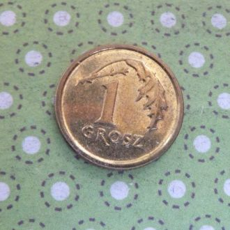Польша монета 1 грош 2015 год !