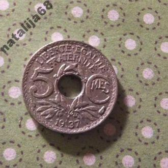 Франция 1937 год монета 5 сентимов !
