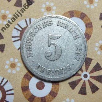 Германия 1897 год монета 5 пфенингов A !
