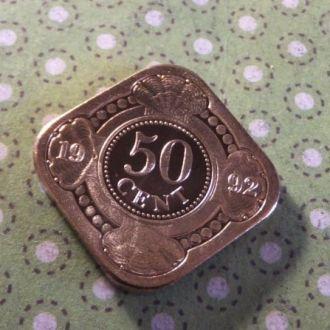Антилы монета 50 центов 1992 год Антильские остров !
