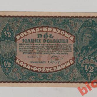 Польща, 1/2 марки польськоi 1919 р. СТАН !!!