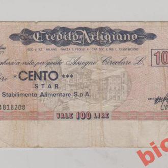 Італiя , чек на 100 лiр.