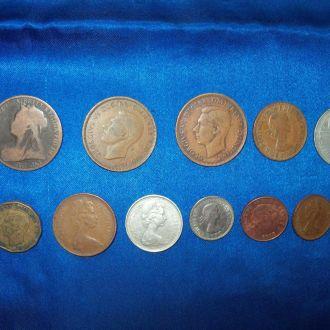 Монеты Мира Великобритания Англия 12 шт