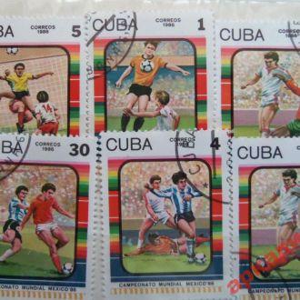 марки футбол куба 1986г 6шт