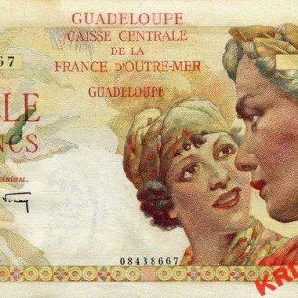 Гваделупа 1000 франков 1947-49 год. КОПИЯ