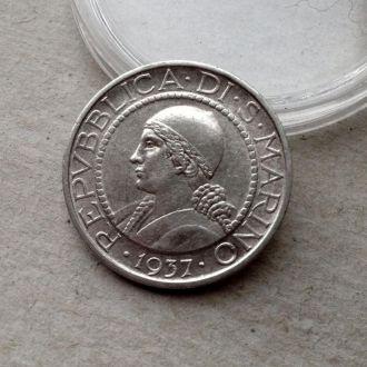 Сан Марино 5 лир 1937 серебро  нечастая !!!!