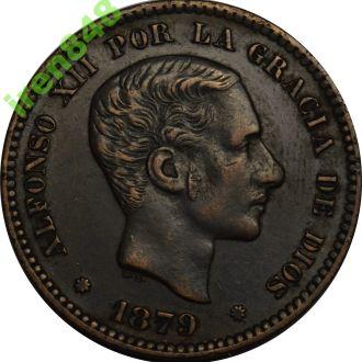 Іспанія 5 centimos 1879   XF-AU