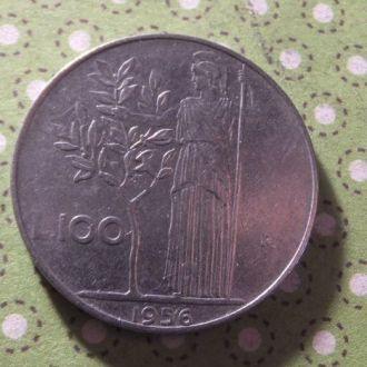 Италия 1956 год монета 100 лир !