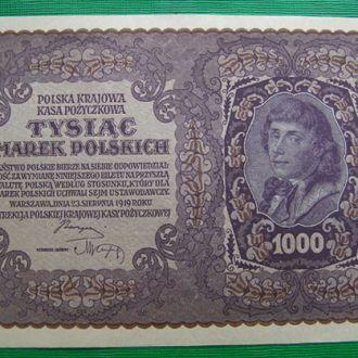 1000 марок польских 1919 год UNC