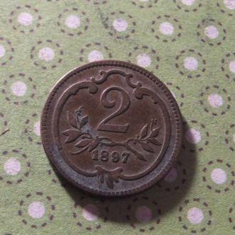 Австрия 1897 год монета 2 геллера !