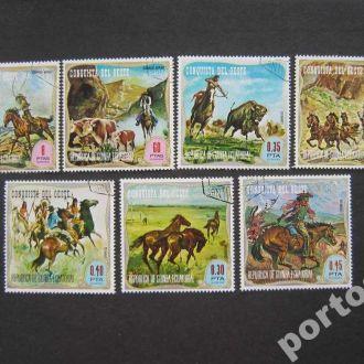 7 марок Экваториальная Гвинея ковбои США лошади
