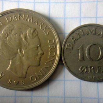 монеты  10 ойре и 1 крона Дания.