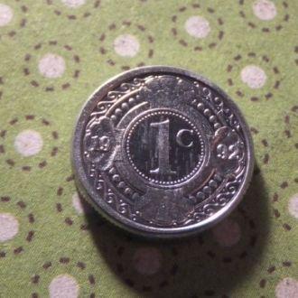 Антилы монета 1 цент 1992 год Антильские острова !