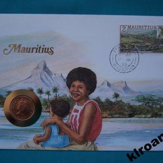 Маврикий 2 цента 1978 Королева Елиза UNC + конверт