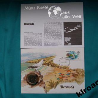 Бермуды 25 центов 1985 г UNC + конверт