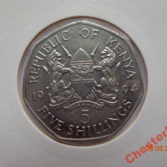 Кения 5 шиллингов 1994 Daniel Toroitich Arap Moi СУПЕР состояние очень редкая