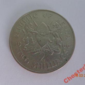"""Кения 2 шиллинга 1966 """"Первый президент Кении Джомо Кениата"""" состояние очень редкая"""