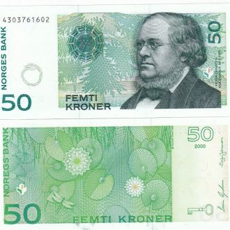 Norway Норвегия - 50 Kroner 2000 UNC JavirNV