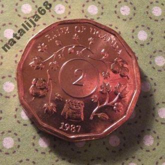 Уганда 1987 год монета 2 шиллинга !