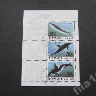 блок Корея 1992 киты дельфины