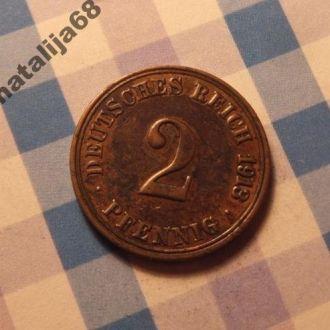 Германия 1913 год монета 2 пфенинга А !