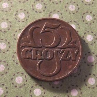 Польша 1938 год монета 5 грош !