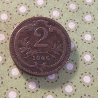 Австрия 1906 год монета 2 геллера !