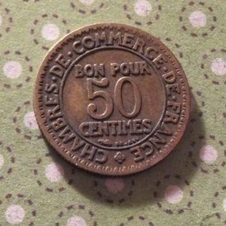 Франция 1922 год монета 50 сентимов !