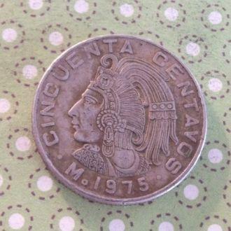 Мексика 1975 год монета 50 сентаво !