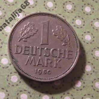 Германия 1950 год монета 1 марка D !