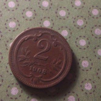 Австрия 1908 год монета 2 геллера !