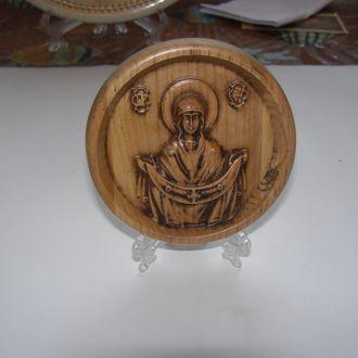 Икона круглая - Покров Пресвятой Богородицы