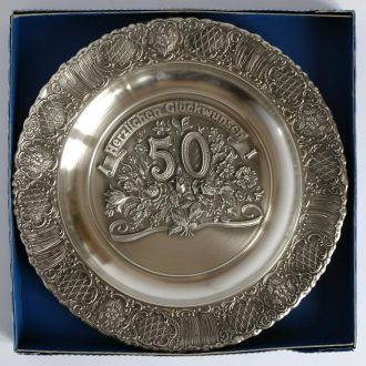 Тарелка панно С 50-летним юбилеем! олово Germany