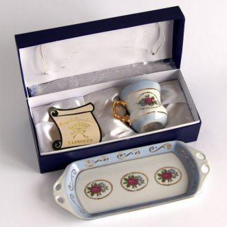 Кофейная чашка поднос фарфор Royal Limoges France