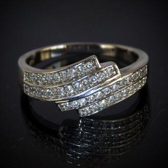 Серебряное кольцо с цирконами 925 проба Austria