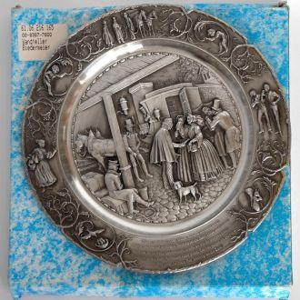 Оловянная тарелка панно Rosen pflucke WMF Germany