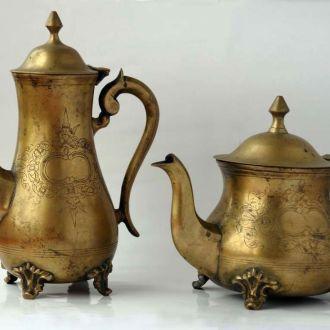 Бронзовые чайник и кофейник с посеребрением